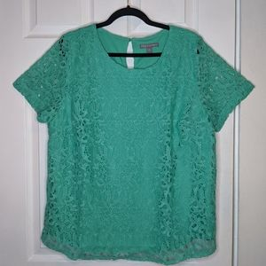 Jessica London Teal Lace Top Size 18W
